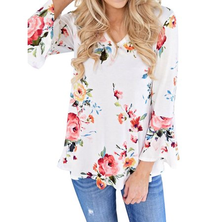 Lmart Women Floral Printed V Neck Bell Long Sleeves Pleated Blouse Shirt