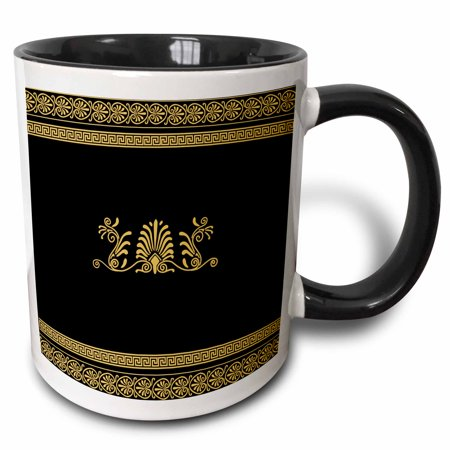 3dRose Golden Yellow and Black Ancient Greek Decorative Spirals and Palm Leaves - Classic Grecian Key - Two Tone Black Mug,