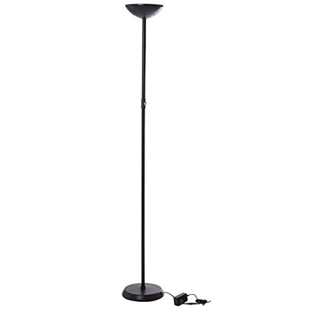 - Brightech SkyLite - Bright LED Torchiere Floor Lamp for Offices – Modern, Dimmable Reading Light for Living Rooms & Bedrooms - Tall Standing Pole Light - Jet Black