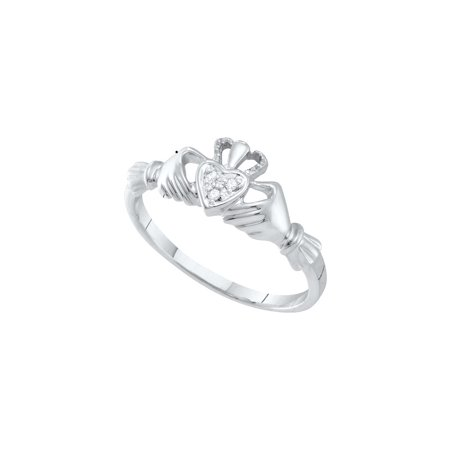 10kt White Gold Womens Round Diamond Dainty Claddagh Heart Ring (.01 cttw.)