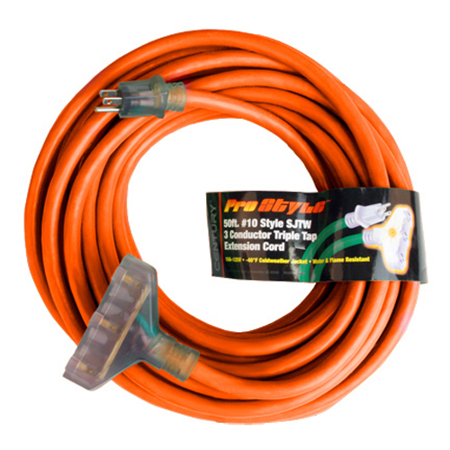 Century Contractor Grade 50' 10 Gauge Power Extension Cord 10/3 Triple Tap Plug
