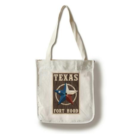 Fort Hood,Texas - Barn Star - Letterpress - Lantern Press Artwork (100% Cotton Tote Bag - Reusable)