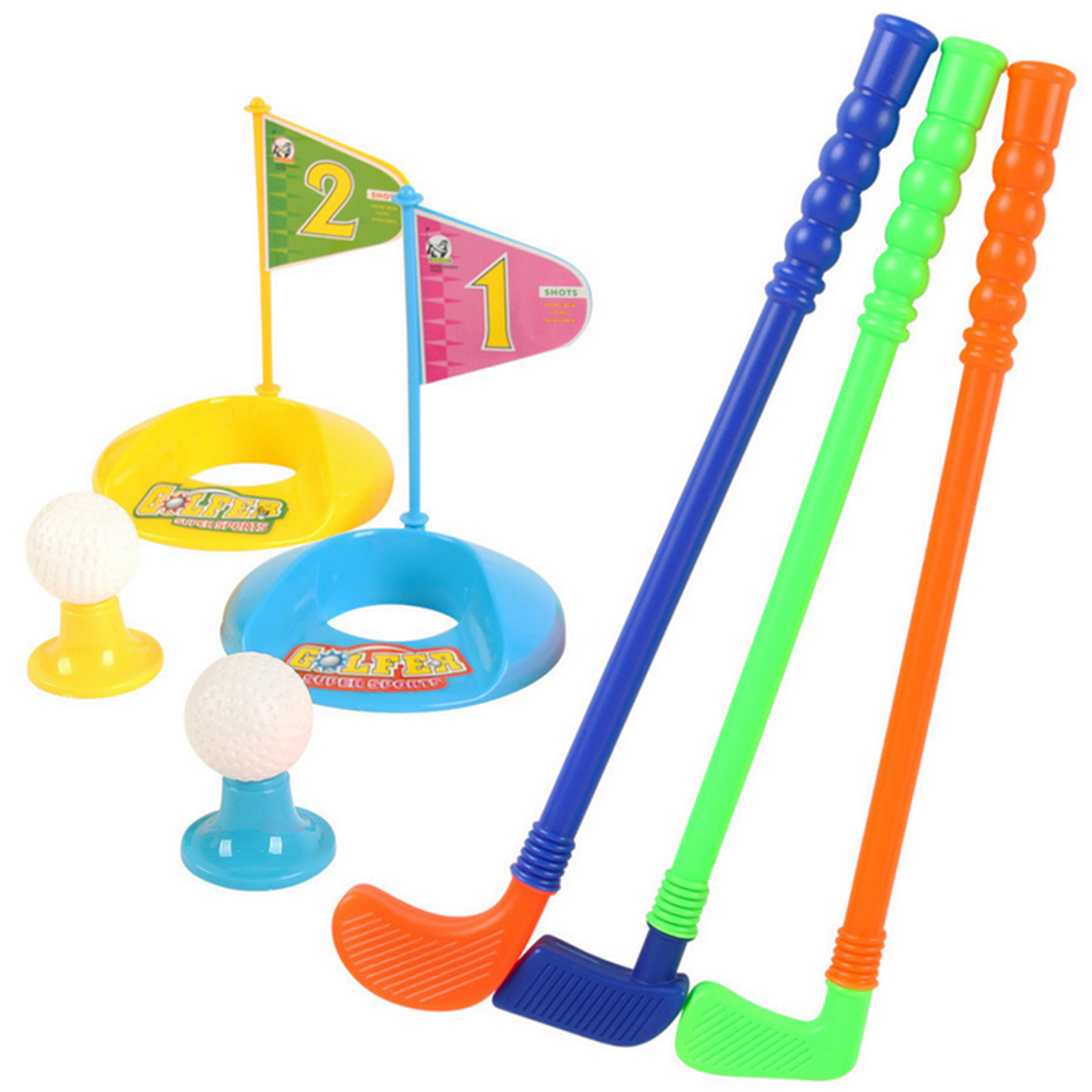 Set of Plastic 3 Golf Putter Club 2 Balls 2 Putting Cup 2 Flags 2 Tees Kids Toy Color Random by