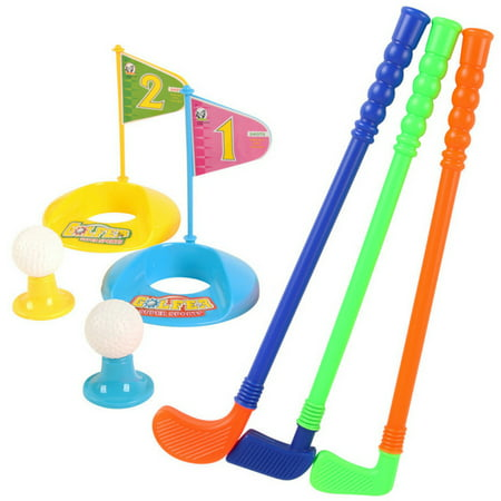 Set of Plastic 3 Golf Putter Club 2 Balls 2 Putting Cup 2 Flags 2 Tees Kids Toy - Color Random