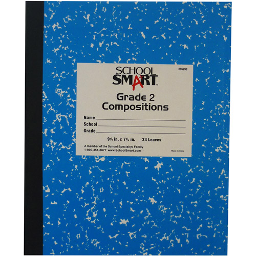 "School Smart Skip-A-Line Composition Book, Grade 2, 9.75"" x 7.75"", Blue Cover, 24 Sheets"