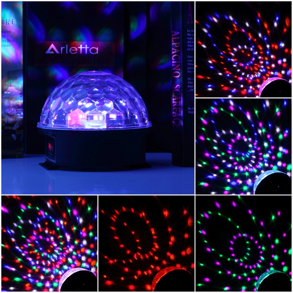 NEW High Quality 6Colors LED Crystal Magic Ball Effect Light Disco ball DJ Stage Party laser led Sound activated disco light cheap led ball