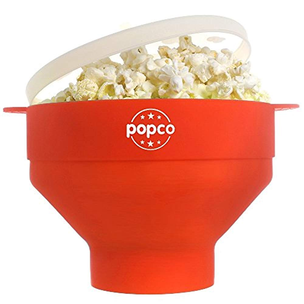 Squad Marketing The Original Silicone Microwave Popcorn New Popper With Handles Bpa Free (Red)