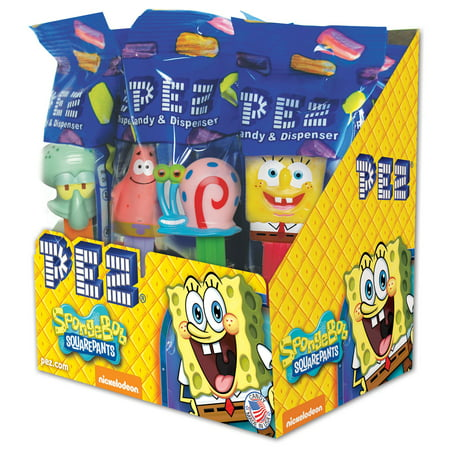 PEZ Candy SpongeBob Assortment, candy dispenser plus 2 rolls of assorted fruit candy, box of 12](Spongebob Candy)