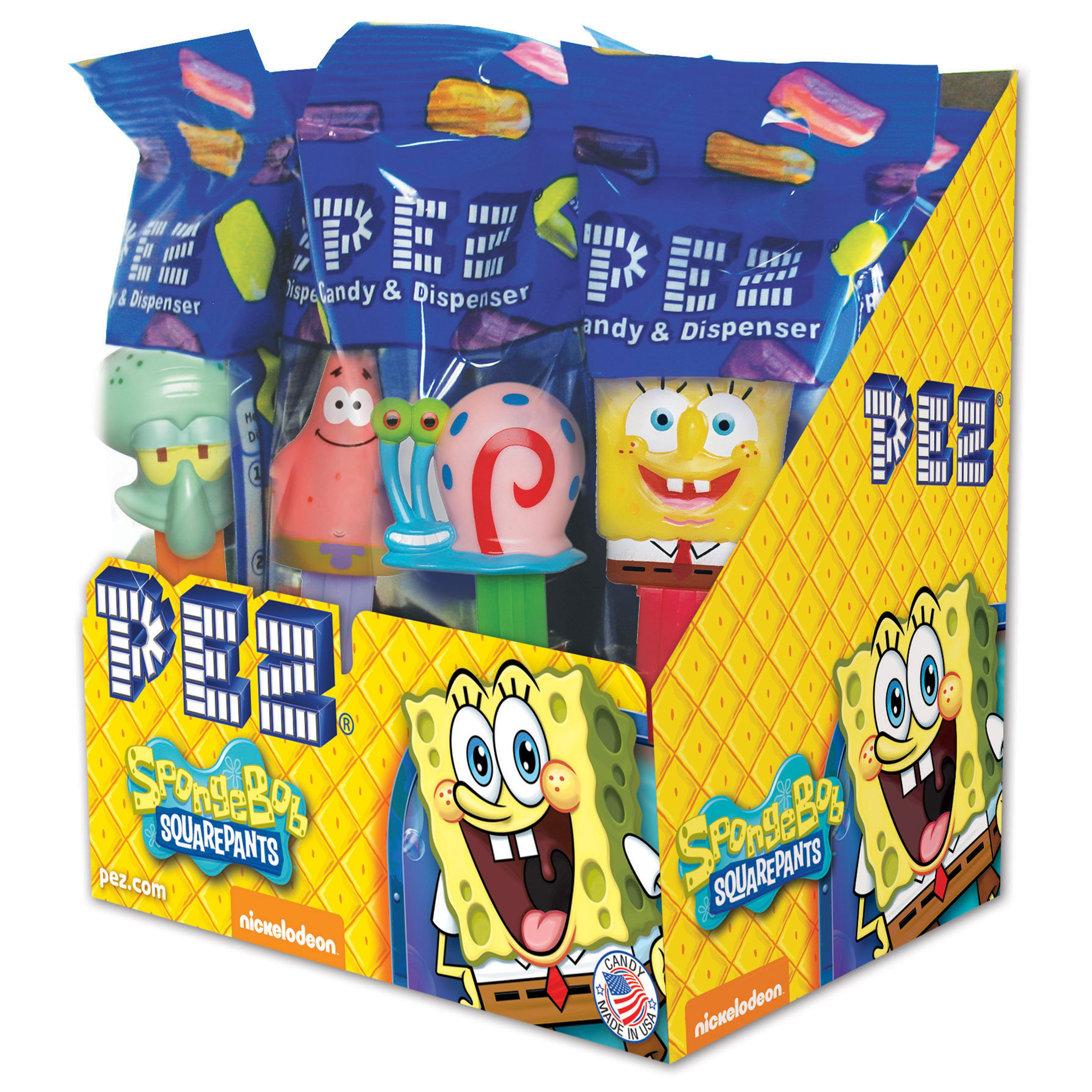 PEZ Candy SpongeBob Assortment, candy dispenser plus 2 rolls of assorted fruit candy, box of 12