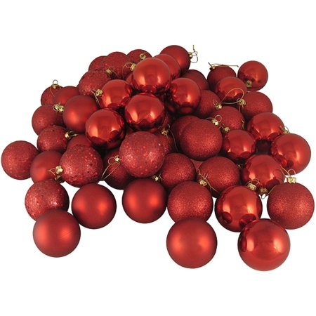 32ct Shatterproof Red Hot 4-Finish Christmas Ball Ornaments 3.25