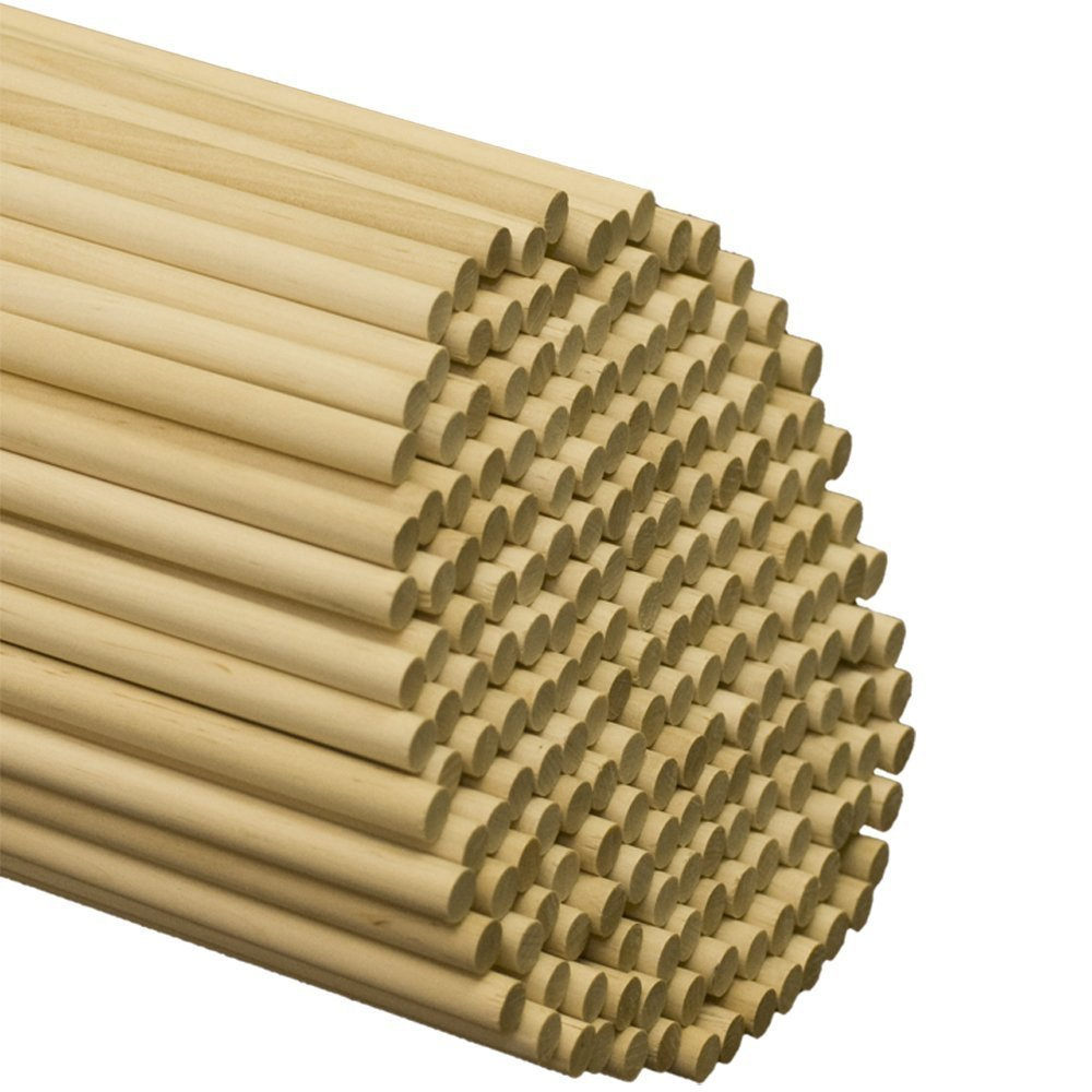 "Wooden Dowel Rods – 3/8"" x 12"" Unfinished Hardwood Sticks – For Crafts and DIY'ers – 50 Pieces – Woodpecker Crafts"