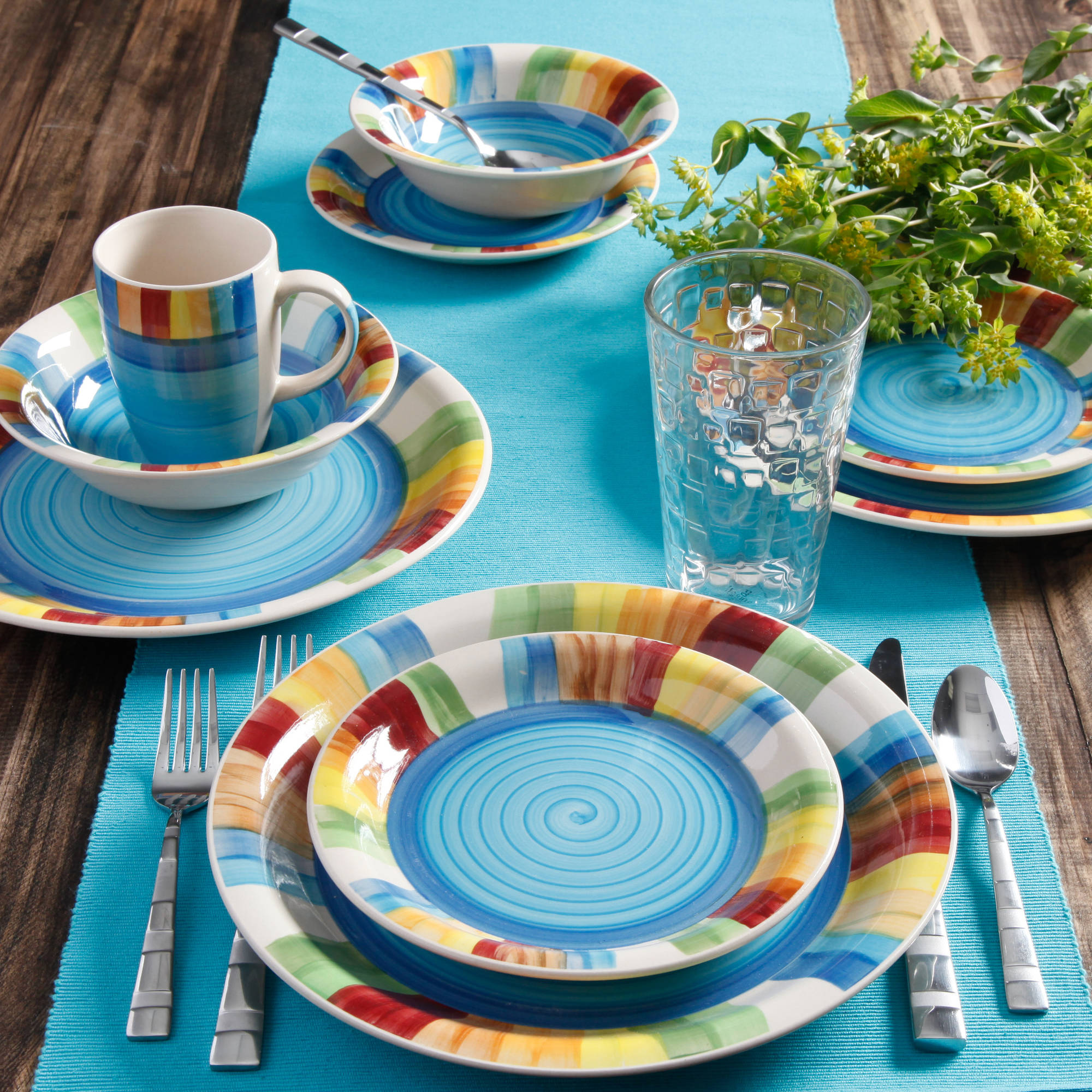 Gibson Carmelita Stripes 16 Piece Dinnerware Set   Walmart.com