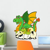 Dragon Mom with Baby Wall Decal Mural by Wallmonkeys Vinyl Peel and Stick Graphic for Girls (18 in H x 17 in W)