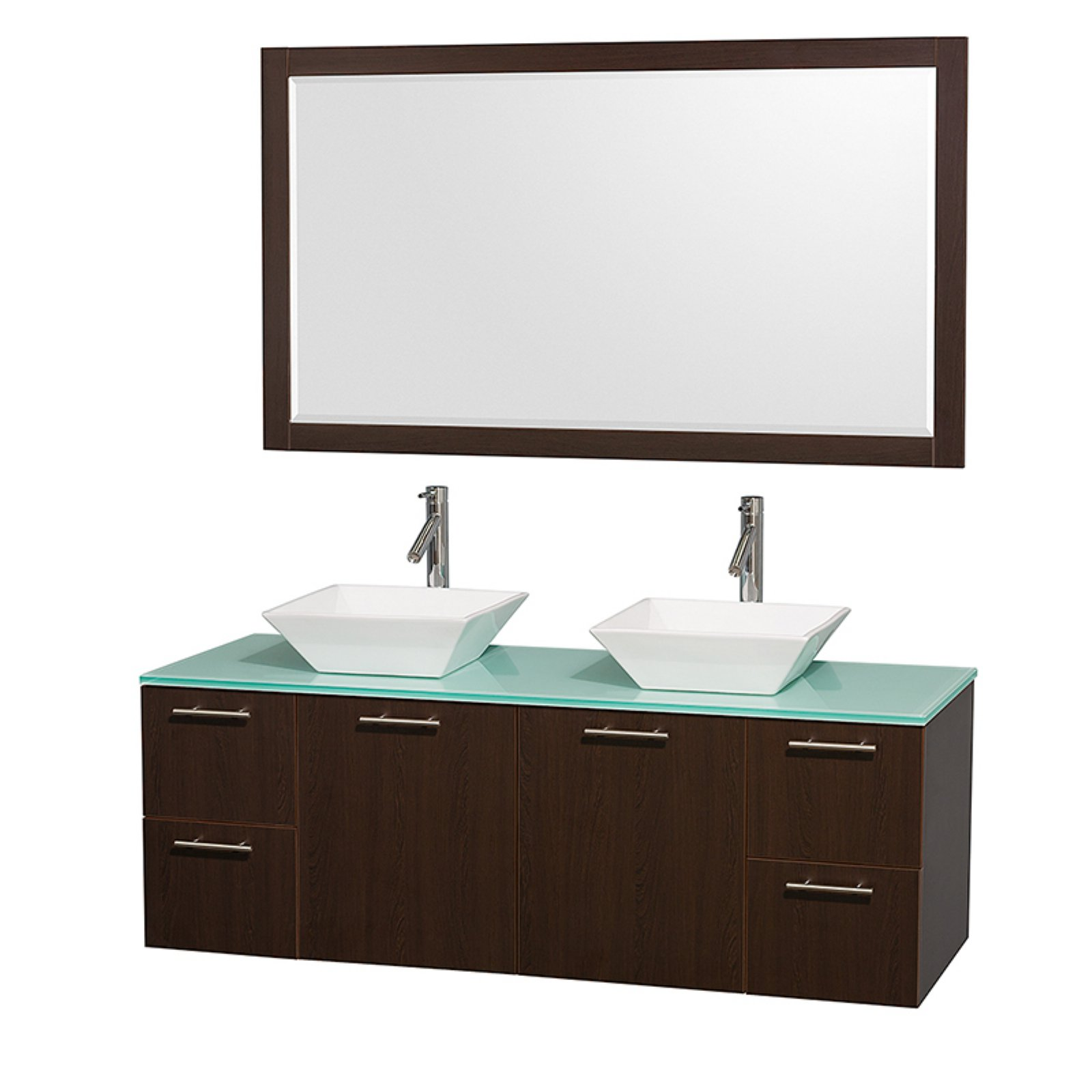 """Wyndham Collection Amare 60"""" Double Bathroom Vanity in Espresso with Green Glass Top with Bone Porcelain Sinks and 58"""" Mirror"""