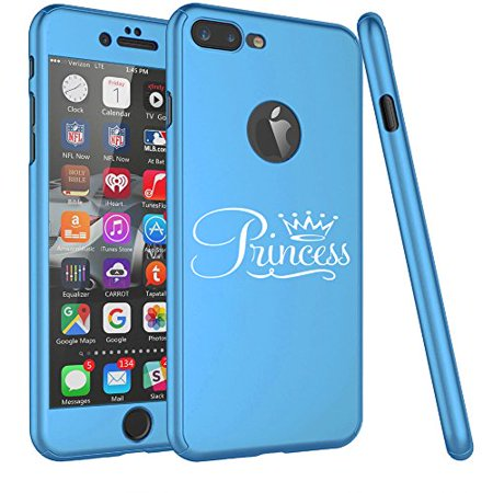 For Apple iPhone 360° Full Body Thin Slim Hard Case Cover + Tempered Glass Screen Protector Princess Fancy (Light Blue For iPhone 7 (Hp Slim Ultrabook Thin And Light Backpack)