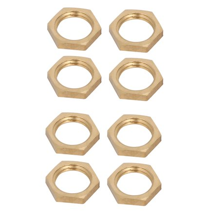 1/4BSP Female Thread Brass Pipe Fitting Hex Lock Nut 8pcs - image 2 of 2