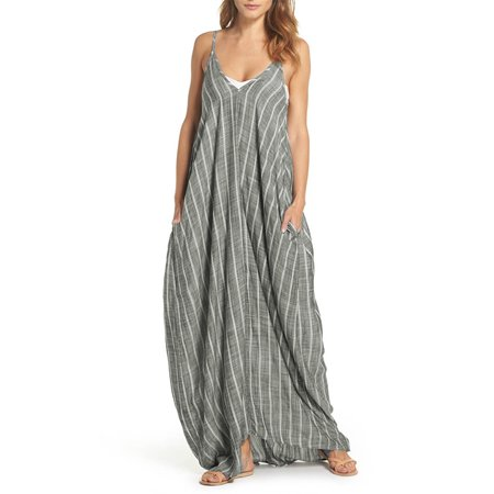 Bohemia Women Sexy V Neck Backless Striped Long Maxi Tank Dress