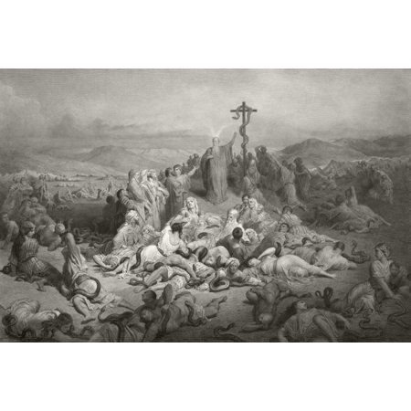 - Moses And The Brazen Serpent After A 19Th Century Print From A Painting By Gustav Dore Engraved By Alphonse Francois Canvas Art - Ken Welsh  Design Pics (36 x 24)