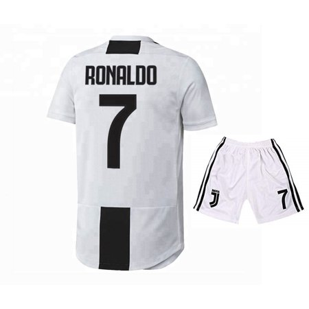 new photos 4b7a9 86e49 Ronaldo Juventus 7 Home Soccer Jersey & Shorts 2019 White