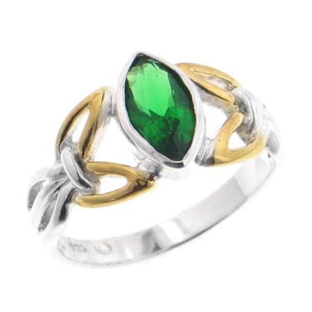 Sterling Silver and Two Tone Gold Accent Celtic Knot Marquise Emerald-Green Glass Ring