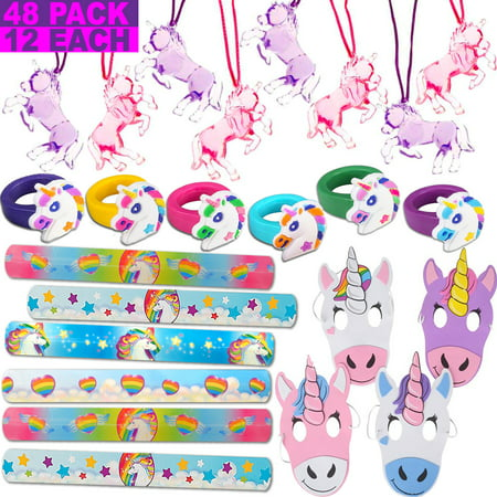 48 Unicorn Favors - 12 rings, 12 masks, 12 Necklaces, 12 Slap Bracelets. Perfect Prize Set for Rainbow Unicorn Theme Birthday. Great for Pinata Filler, Handouts, Gifts, Loot Bags (Themes For A Birthday)
