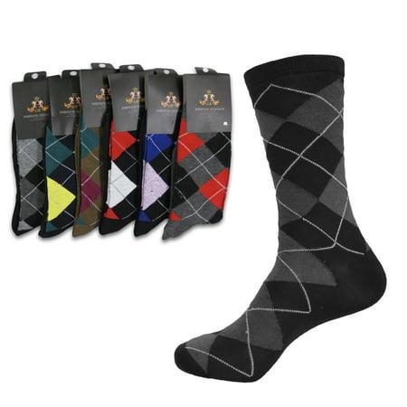 Men's Patterned Cotton Dress Casual Socks 6-Pairs (#2 Pale Argyle) ()