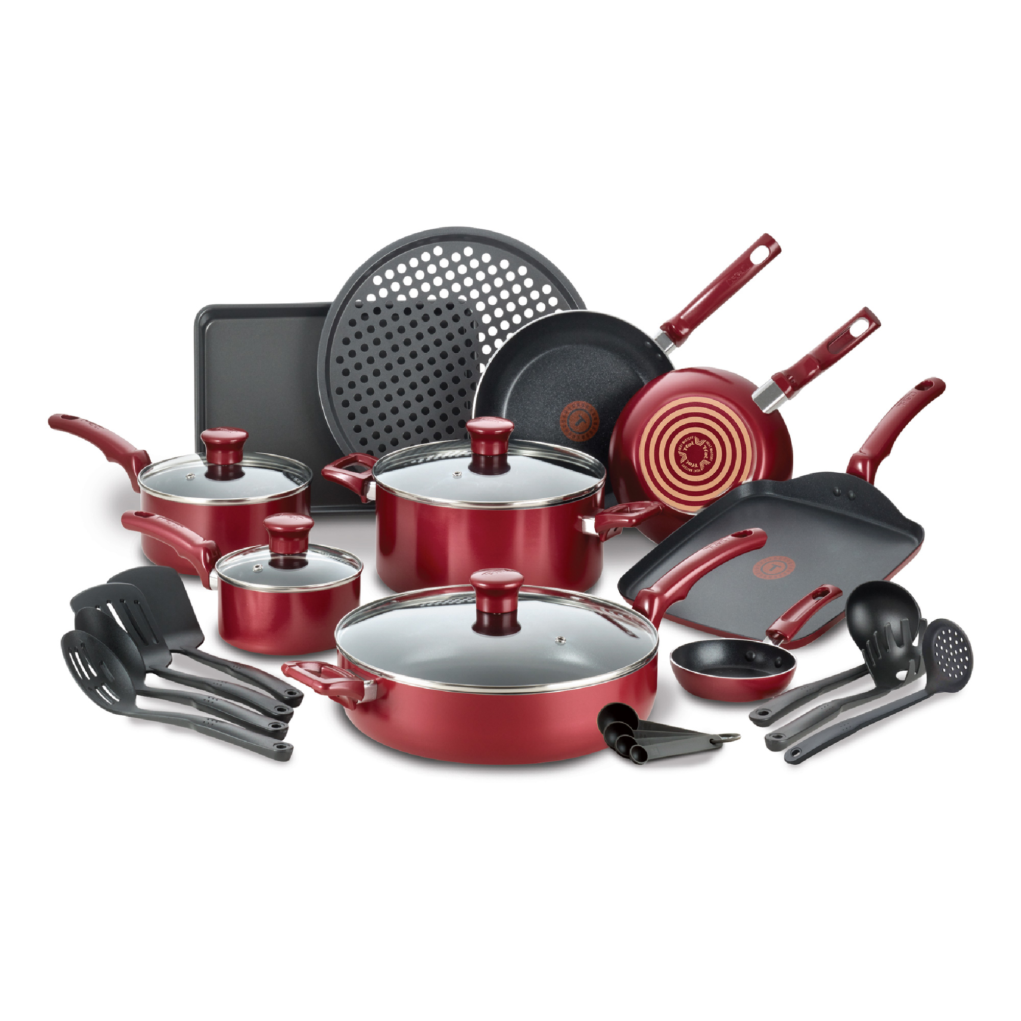 T-fal Kitchen Solutions 22-Piece Nonstick Cookware Set, Thermospot, Red