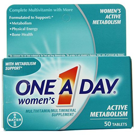 4 Pack One-A-Day Womens Active Metabolism Complete Multivitamin Tablets 50