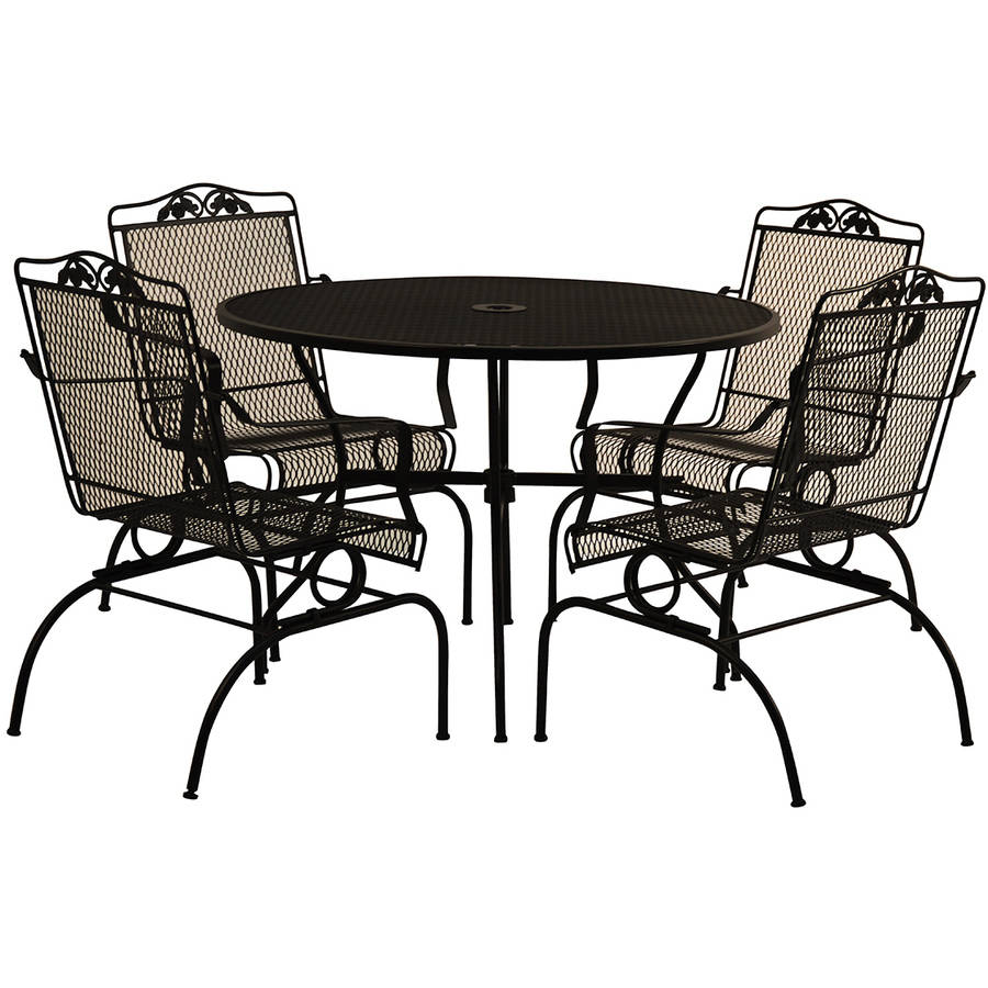 Mainstays Willow Springs 6Piece Patio Dining Set Blue Seats 5