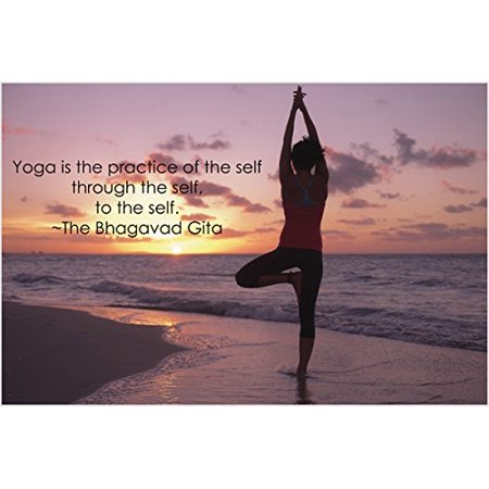 Tree Pose Yoga Poster Inspirational Quote Motivational Sunset Ocean 24X36](Oceans 12 Quotes Halloween)
