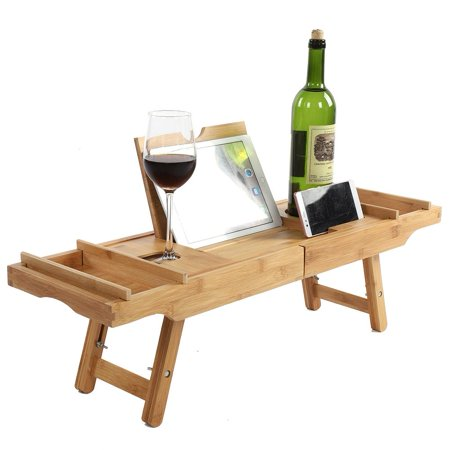 HURRISE Bamboo Bathtub Caddy Tray with Extending Legs Cellphone Wineglass Holder Accessories Placement,Bathtub Caddy, Bamboo Bathtub