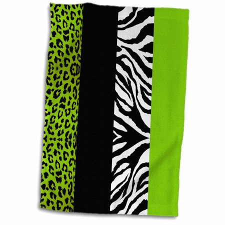 3dRose Lime Green Black and White Animal Print - Leopard and Zebra - Towel, 15 by