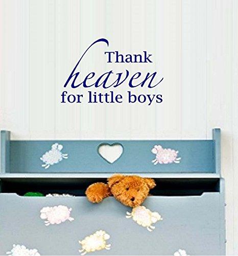 "Decal ~ Thank Heaven for Little Girls/ Boys #1 (Choose Girl or Boy) Wall Decal~ 13"" x 20"" (Little Boy Black)"