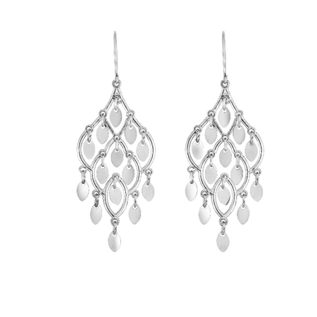 10kt Gold White Finish Shiny Chandelier Drop Earring with Euro Wire Clasp