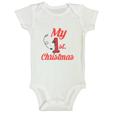 "Kids Santa Present Holiday Onesie Kids Shirt ""My first Christmas"" Funny Threadz Kids 12 Months,"