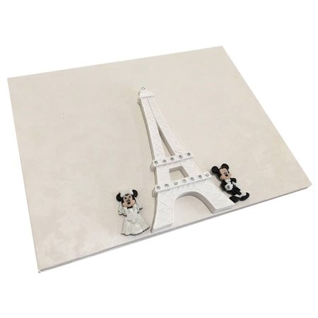 Mickey And Minnie Mouse Wedding Eiffel Tower Theme Signature Guest Book - Minnie Mouse Wedding