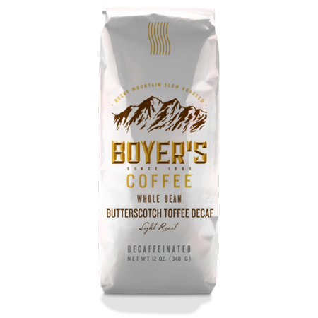 Boyer's Coffee Decaf Butterscotch Toffee Flavored Coffee, Whole Bean, 12oz (Decaf Whole Bean)