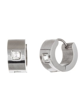 b9835b87c Product Image Reinforcements Men's White Crystal Square Shape Flush Set  Huggie Hoop Earring in Stainless Steel
