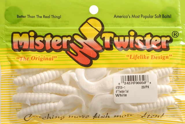 Mister Twister SDT10-1 Mr Twister Split Double Tail 4-Inch 10-Pack White