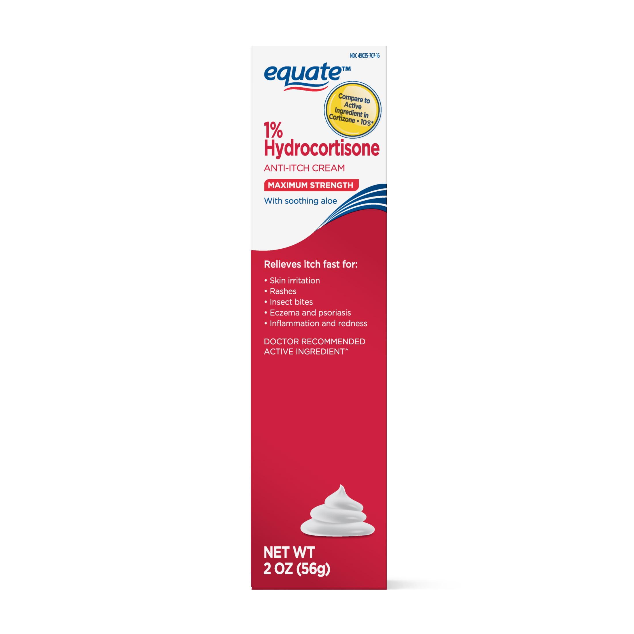 Equate Maximum Strength 1% Hydrocortisone With Aloe Cream, 2 Oz