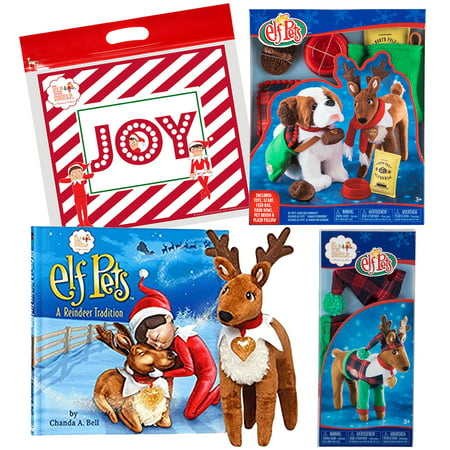 Elf on the Shelf Pets Reindeer with Good Tidings Toy Tote & Scarf and Playful Reindeer PJ's with Exclusive Joy Travel (Friend Pets Tote Bag)