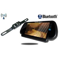 Tadibrothers 7 Inch Mirror with Bluetooth and License Plate Backup Camera