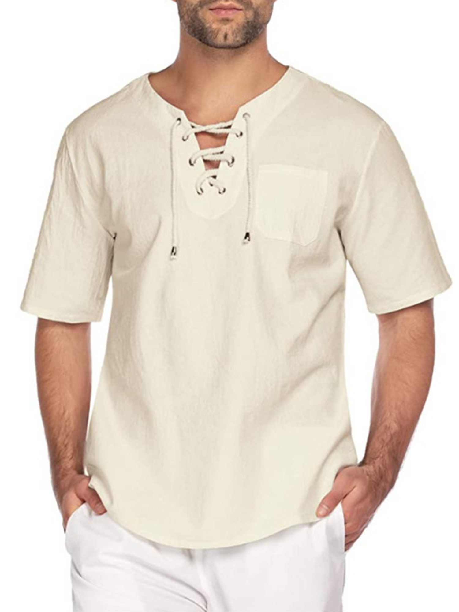 Mens Retro Long Sleeve Lace Up Tops Casual Loose T Shirts Hippie Yoga Blouse Tee