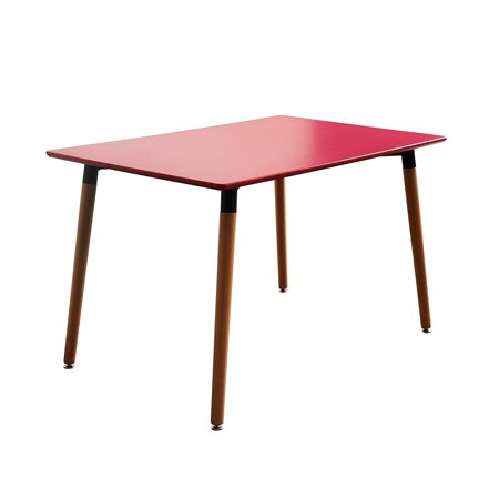 Modern Home Small Space Dining Table with Natural Wood Legs Red Red Finish