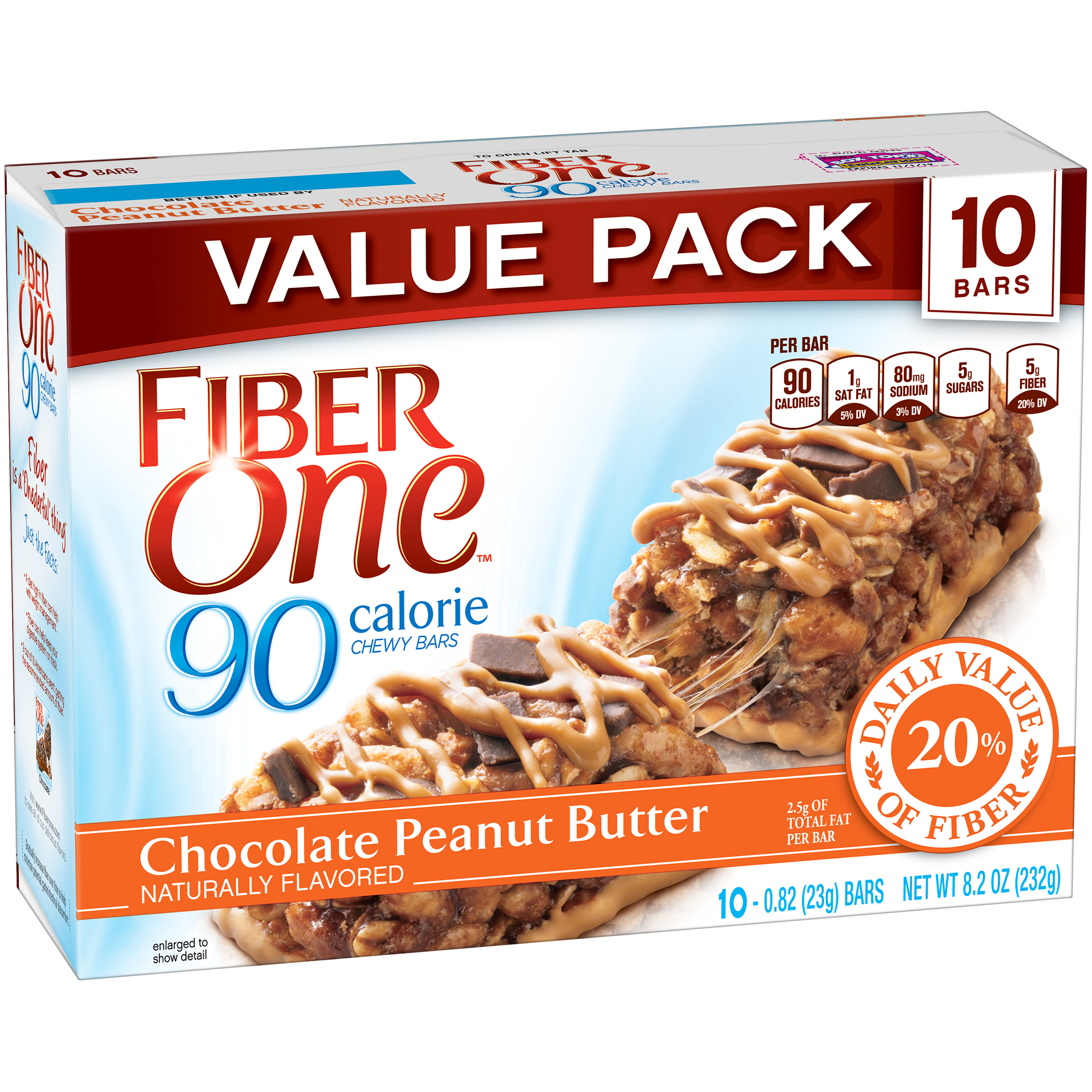 Fiber One��� 90 Calorie Chocolate Peanut Butter Chewy Bars 10 ct Box