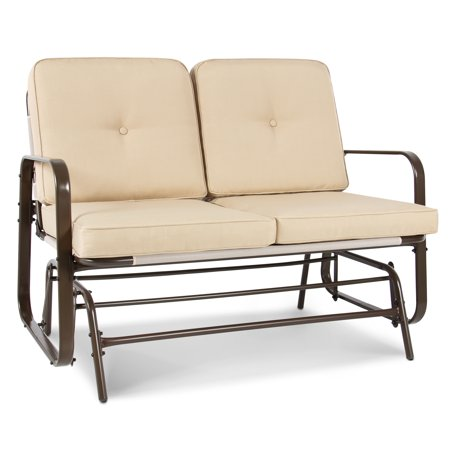 Best Choice Products 2-Person Outdoor Patio Glider Loveseat Rocking Chair, Furniture for Deck, Home, Garden w/ Removable UV-Resistant Cushions, Steel Frame, Beige ()