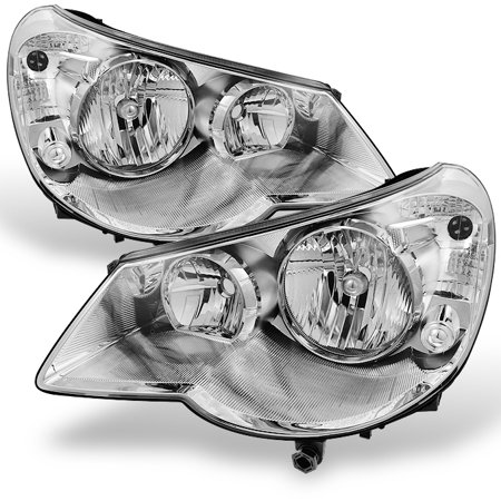 Fit 07-10 Sebring 4Dr Sedan Chrome Replacement Headlights Headlamp L+R 01 Chrysler Sebring Headlight
