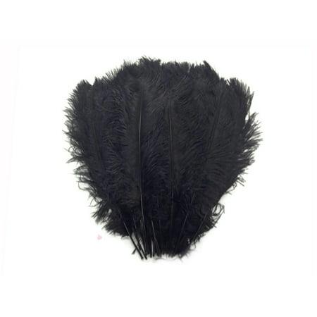 1 2 Lb   14 17  Black Ostrich Large Drab Wholesale Feathers  Bulk  Swa
