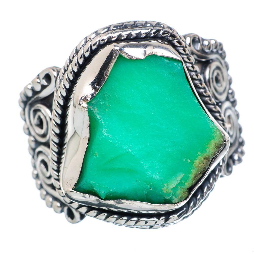 Ana Silver Co Rough Chrysoprase Ring Size 9.25 (925 Sterling Silver) Handmade Jewelry RING890013 by Ana Silver Co.