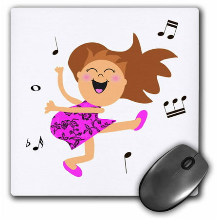 3Drose Cute Dancing Girl Cartoon In Hot Pink Dress Kawaii Happy Dancer Jive Party Swing Partying To Music  Mouse Pad  8 By 8 Inches